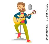 caucasian woman playing guitar. ... | Shutterstock .eps vector #1054540139
