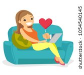 woman using laptop and dating...   Shutterstock .eps vector #1054540145