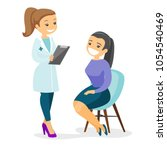 caucasian doctor consulting... | Shutterstock .eps vector #1054540469