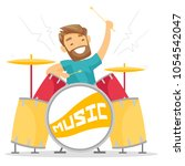 young woman playing on drums.... | Shutterstock .eps vector #1054542047