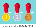 gold  silver  bronze medal with ... | Shutterstock .eps vector #1054542191