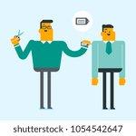 young caucasian white seller... | Shutterstock .eps vector #1054542647