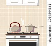 the stove with one burning ring ... | Shutterstock .eps vector #1054544861