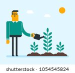 young caucasian white gardener... | Shutterstock .eps vector #1054545824