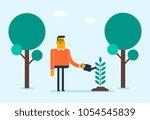 young caucasian white gardener... | Shutterstock .eps vector #1054545839