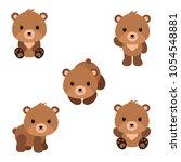 set of cute cartoon bears in... | Shutterstock .eps vector #1054548881