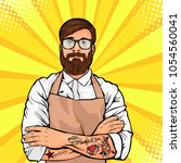 bearded man in glasses with... | Shutterstock .eps vector #1054560041