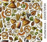 cartoon cute hand drawn beer... | Shutterstock .eps vector #1054573934