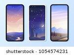 phone environment wallpaper set.... | Shutterstock .eps vector #1054574231