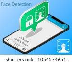iphone x  is unlocked using... | Shutterstock .eps vector #1054574651