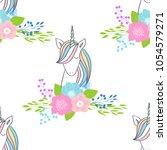 magic cute unicorns with... | Shutterstock .eps vector #1054579271