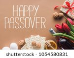 top view of happy passover... | Shutterstock . vector #1054580831