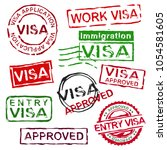 grunge rubber visa stamps.... | Shutterstock .eps vector #1054581605