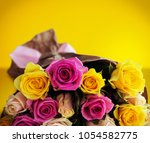 Bouquet Of Roses On Yellow...
