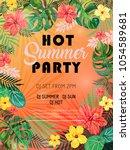 hot summer party design poster...   Shutterstock .eps vector #1054589681