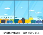 conveyor belt in airport hall.... | Shutterstock .eps vector #1054592111