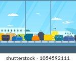 conveyor belt in airport hall.... | Shutterstock .eps vector #1054592111
