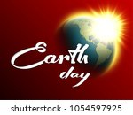 happy earth day hand lettering... | Shutterstock .eps vector #1054597925