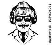 gentleman with headphones and... | Shutterstock .eps vector #1054606031