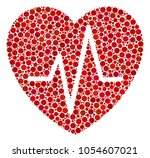 cardiology collage of circle... | Shutterstock .eps vector #1054607021
