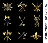 vintage weapon emblems set.... | Shutterstock .eps vector #1054611257