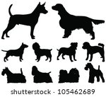 Stock vector set of dogs silhouette vector 105462689