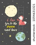cute fox in a space with heart... | Shutterstock .eps vector #1054631321