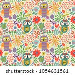 seamless pattern with owls | Shutterstock .eps vector #1054631561