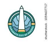 tugu pahlawan surabaya badge... | Shutterstock .eps vector #1054637717