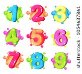 funny colorful numbers set ... | Shutterstock .eps vector #1054637861