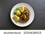 roasted beef steak with...   Shutterstock . vector #1054638425