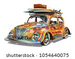 hippie vintage car with... | Shutterstock .eps vector #1054640075