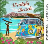 waikiki retro poster with retro ... | Shutterstock .eps vector #1054644197