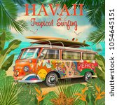hawaii retro posterwith retro... | Shutterstock .eps vector #1054645151
