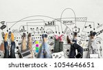 teamwork of the staff  creative ... | Shutterstock . vector #1054646651