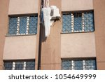air conditioner with frozen ice ... | Shutterstock . vector #1054649999