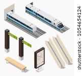 isometric subway station low... | Shutterstock .eps vector #1054654124