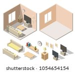 home cinema room low poly... | Shutterstock .eps vector #1054654154