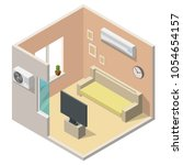isometric air conditioning... | Shutterstock .eps vector #1054654157