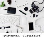 top view of office desk...   Shutterstock . vector #1054655195