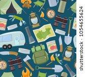 seamless pattern of travel... | Shutterstock .eps vector #1054655624