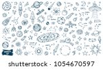 space doodles set. astronomy.... | Shutterstock .eps vector #1054670597
