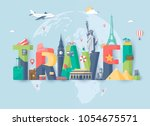 travel composition with famous... | Shutterstock .eps vector #1054675571