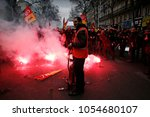 protesters of the french...   Shutterstock . vector #1054680107