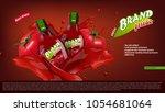 fresh tomato juice in glass... | Shutterstock .eps vector #1054681064
