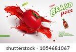 fresh tomato juice in glass... | Shutterstock .eps vector #1054681067