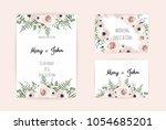 vector invitation with handmade ... | Shutterstock .eps vector #1054685201