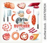 sausages meat butcher store... | Shutterstock .eps vector #1054700924