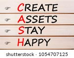 Small photo of CREATE ASSETS STAY HAPPY words with CASH written on wood wall decor. Acronym concept.