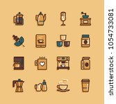 coffee flat icons   Shutterstock .eps vector #1054733081